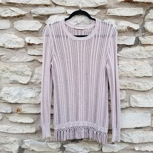 Soft Surroundings Open Knit Fringed Sweater S
